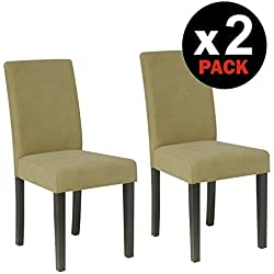 HomeSouth - Pack dos sillas de madera, silla salon tapizado Jarama Beig patas color Wengué