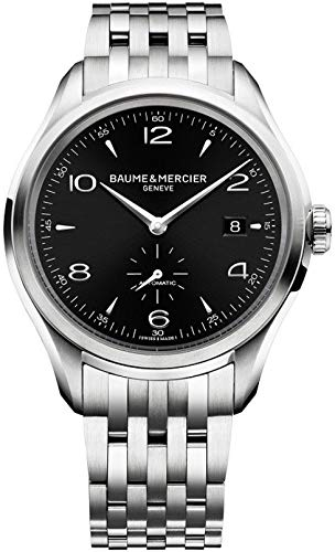 Baume & Mercier Clifton/Montre Homme/Cadran Noir avec Finition satinée Soleil/Caisse et Bracelet Acier/Ref. m0a10100