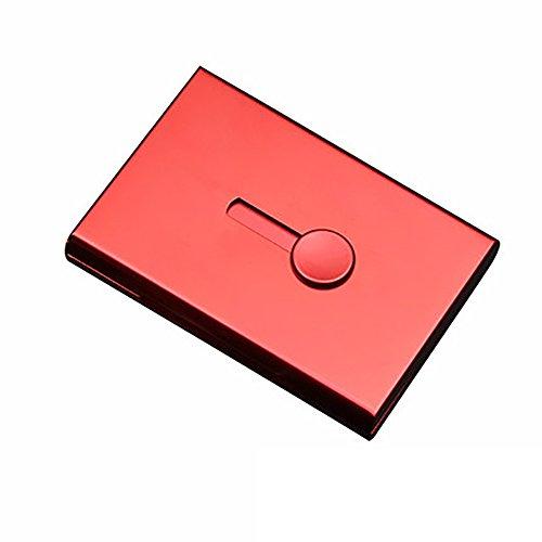 Verdickter Visitenkarte-Kasten, können beide Männer und Frauen, Edelstahl-Visitenkarte-Halter-Stoß-Karten-Kasten verwenden (Farbe : Rot)