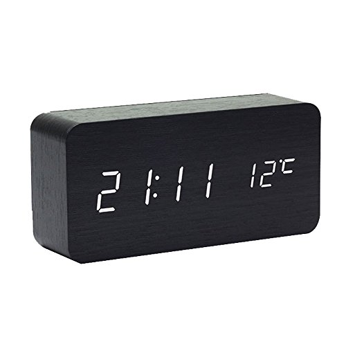 MUTANG Despertador de Madera Reloj Digital para Habitaciones Comando de Voz LED Reloj de Escritorio pequeño con Pantalla de acrílico Hora del espectáculo Fecha Temperatura (Color : Black Wood)