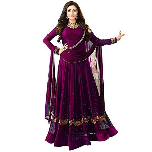 Lovender Fashion Women's Georgette Heavy Party Wear Dress Material (Nitya_Purple)