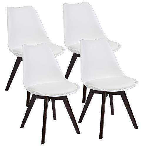 Albatros Esszimmerstühle AARHUS 4-er Set, Weiss mit Beinen aus Massiv-Holz, Nussbaum/Schwarz, skandinavisches Retro-Design -