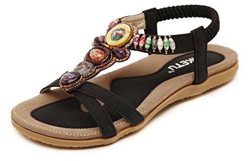 Fortuning's JDS Mesdames et filles d'été tongs sandales flats tongs chaussures boho occasionnels Noir