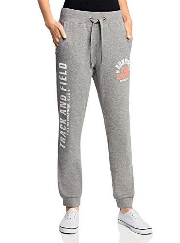 oodji Ultra Femme Pantalon en Maille avec Imprimé et Liens à Nouer Gris (2310Z)