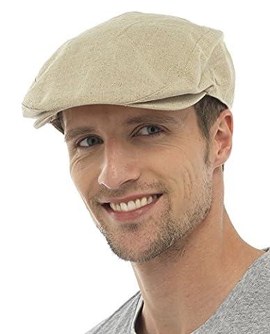 Tom Franks Mens Cotton Linen Lightweight Vintage Style Flat Cap (M/L) Beige