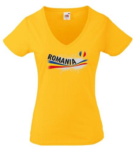 world-of-shirt Romania / Rumänien Damen T-Shirt Vintage Trikot|M