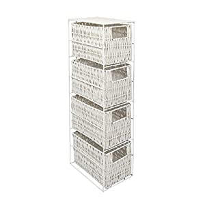 41Fc6aAJkNL. SS300  - 4 Drawer Resin Tower Storage Unit - White
