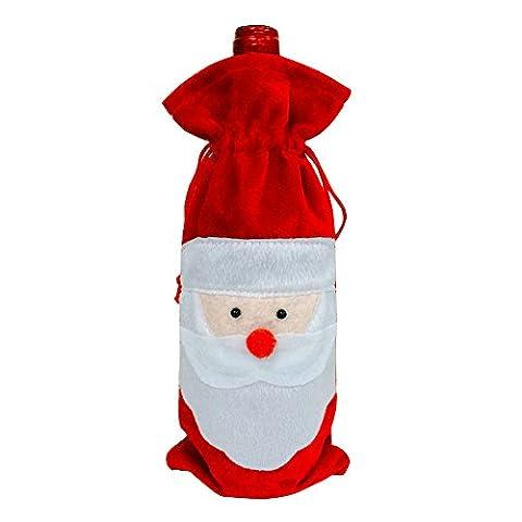 Aohro 1pcs Santa Claus Bouteille de vin rouge de la couverture de sacs Décoration de Noël Home Decor