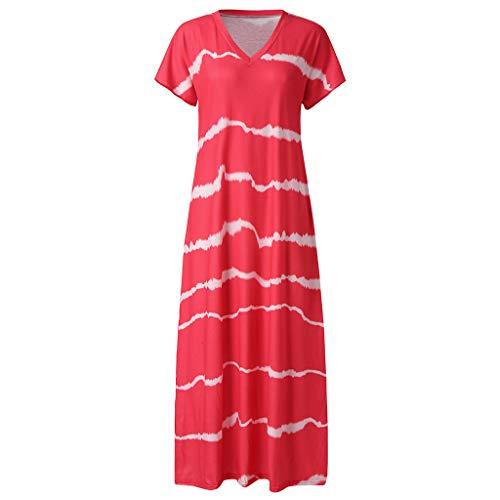 mmerliche Freizeit und eleganter Klassisch Gestreifter Kurzarm-V-Ausschnitt Lang Kleid ()