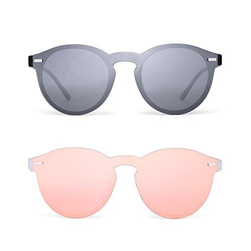 JIM HALO Polarisiert Randlos Sonnenbrille Reflektierend Ein Stück Rund Spiegeln Brillen für Damen Herren 2 Stück (Silber&Rosa)