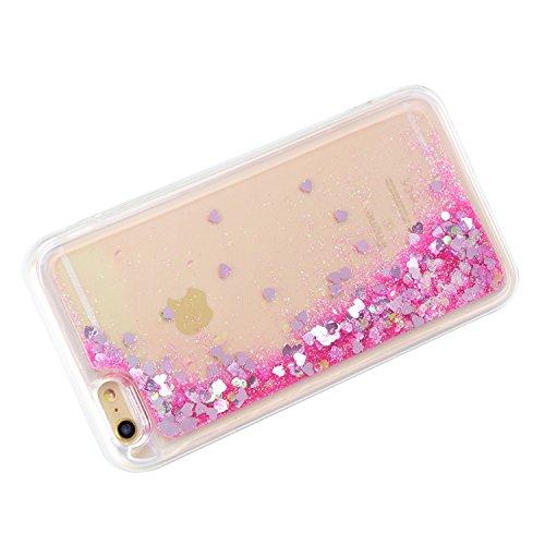 Handytasche für iPhone 6 Plus/6S Plus(5,5 zoll) 3D Kreative Liquid Handyhülle Durchsichtig Rückseite Tasche Glitter Shiny Kristall Klar Sparkle Dynamisch Treibsand Fließende Flüssigkeit Glänzend Telef D03