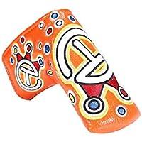 Aishanghuayi-ou Cubierta for Cabeza de Club de Golf, Putter de Tallo de Palabra Bordada Delicada, L Tipo 2 Color PU Material Cubierta for Cabeza de Club de Golf (Naranja/Blanco, 1 Paquete) Mano de o