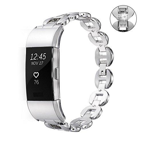 Bandmax Armband für Fitbit Charge 2, Hochwertig Zinklegierungen Metall Hohl Link Gliederarmband Ersatzarmband Wrist Armband Uhrenarmband für Fitbit Charge 2, Silber