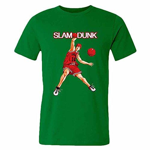 SLAM DUNK -Handsome basketball master Sakuragi Hanamichi green T-shirt for men-M par  Good Day