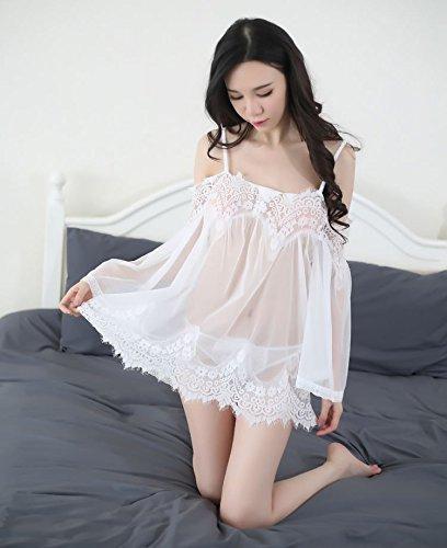 Shangrui Donna Pizzo Abbigliamento Prospettiva Maniche Lunghe Sonno Skirt Suit(FZ0057) Bianco