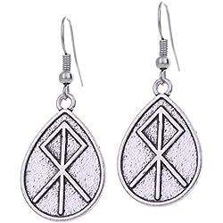 VASSAGO Vintage Talismán Nórdico Viking Runes Colgante Amuleto Regalo Drop Pendientes para Mujer Niña