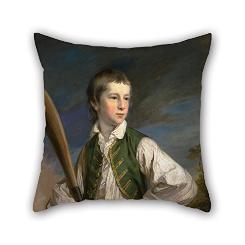 KENETOINA Pillow Cases of Oil Painting Francis Cotes - Charles Collyer As A Boy, with A Cricket Bat,for Play Room,car Seat,bar,Wedding,him,Teens Boys 20 X 20 Inches / 50 by 50 cm(Double Sides)