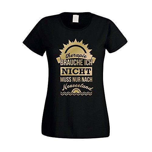 Damen T-Shirt - Therapie brauch Ich nicht - muss nur nach Neuseeland - von SHIRT DEPARTMENT fuchsia-weiss