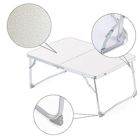 Zipom Table de lit pliante et réglable pour ordinateur portable Plateau de petit déjeuner Support de lecture