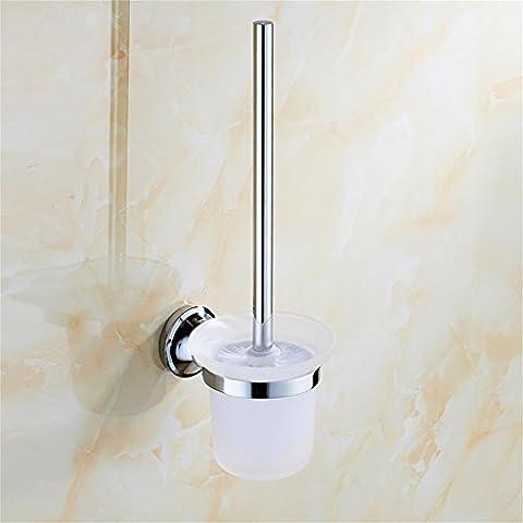 Uncle Sam LI- Brosse de toilette en acier inoxydable simple européen et support avec la tasse givrée, montés sur le mur, accessoires de salle de