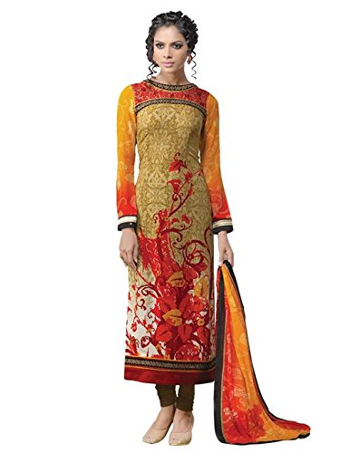 crazy bachat Indian Designer Salwar Suits Frech Crape Multi Semi Stitched Dress