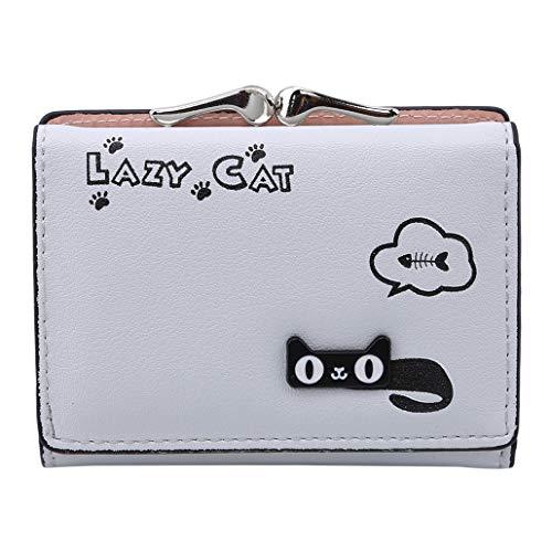 NYAOLE Lustige Faule Katze Geldbörse PU Leder Münze Brieftasche Schnappverschluss Clutch Bag für Frauen, Grau