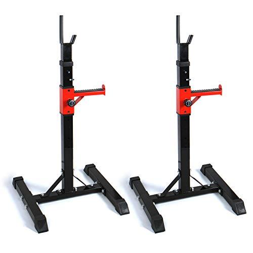 Cclife rack da squat regolabile porta manubri max 100kg,fitness palestra, colore:nero con rosso