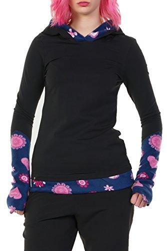 Winter Kapuzenpullover Hoodie Damen schwarz Herbst Kleidung Daumenloch Mode 3 Elfen Kapuzenpulli Frauen schwarz pink Lady XS - 3