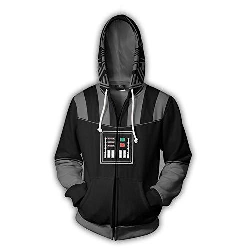 RJHWY 3D Pullover Felpa con Cappuccio Felpa Unisex con Cappuccio in della Maglietta Felpata con Cerniera Star Wars Darth Vader XL
