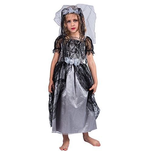 EraSpooky Kinder Zombie Braut Kostüm, Karneval Fasching Kleid mit Schleier