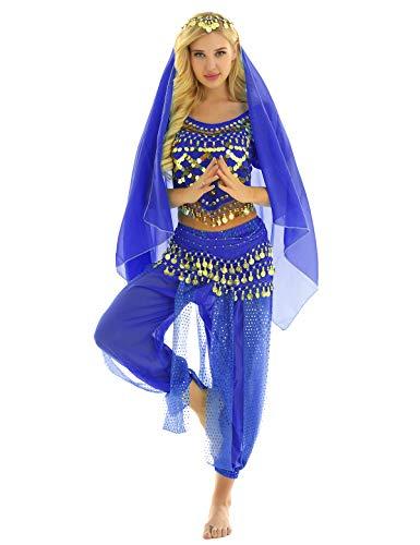 MSemis Damen Bauchtanz Kostüm Set Pailletten Tanzkleidung Indische Tanz Performance-Kleidung 4tlg. Sets Oberteil + Haremshose + Hüfttuch + Kopftuch Königsblau Einheitsgröße
