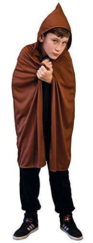 Hooded Cape Childrens BROWN Kids Fancy Dress