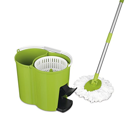 CLEANmaxx Power-Wischmopp limegreen (Wischeimer mit Filtereinsatz – immer frisches Putzwasser, Rotiert um 360 Grad, Auswringen ohne Bücken)