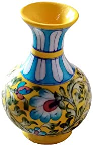 Indian blue art pottery jaipur Handmade Painting Ceramic Designer Decorative Flower Vase 5 Inches - Multicolor