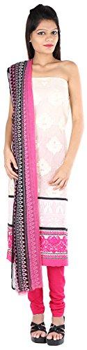 JYOTI Women's Jute Unstiched salwar Suit (JBAM-28, Offwhite & Rani)