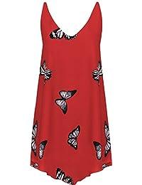 WearAll - Damen Chiffon Schmetterling Druck Liniert Ärmellos Tauchen Saum Weste Top - 3 Farben - Größe 42-56