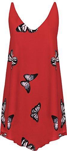 WearAll - Femmes Mousseline De Soie Papillon Imprimer Doublé Sans Manches Trempette Ourlet Gilet Haut - Hauts - Femmes - Tailles 42-56 Rouge
