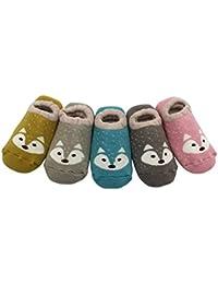 Estwell 5 Paar Anti Rutsch Babysocken Kindersocken Erstlingssöckchen Kleinkind Rutschfest Baumwolle Socken mit Niedlich Fuchs Muster