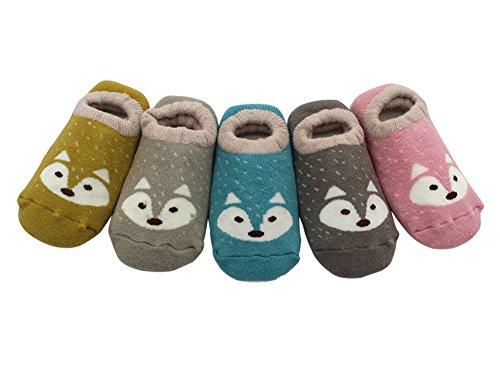 5 Paar Anti Rutsch Babysocken Kindersocken Erstlingssöckchen Kleinkind Rutschfest Baumwolle Socken mit Niedlich Fuchs Muster (Niedliche Baby-socken)