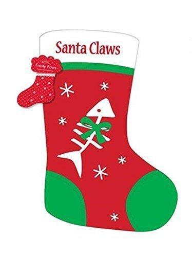 Weihnachten Strumpf Weihnachtsmann Harken Fisch Knochen Haustier Hund Welpe Katze Kätzchen Geschenk Sack Schneeflocke rot-grün-weiß - Katze Santa Krallen mit Fischgräten -