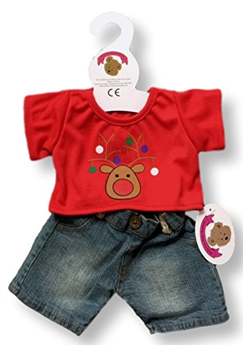 teddy-clothes-fit-build-a-bear-teddies-christmas-t-shirt-jeans-outfit-clothing-red