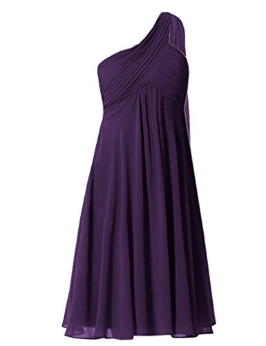 Fanciest Damen One Shoulder Chiffon Kurz Bridesmaid Dress for Weddings Lavender Purple