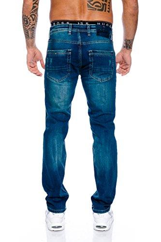 Rock Creek Designer Herren Jeans Hose Raw Gerades Bein Straight-Cut RC-2100 W29-W44 Blau