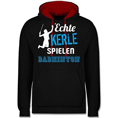 Sonstige Sportarten - Echte Kerle Spielen Badminton - L - Schwarz/Rot - JH003 - Kontrast Hoodie