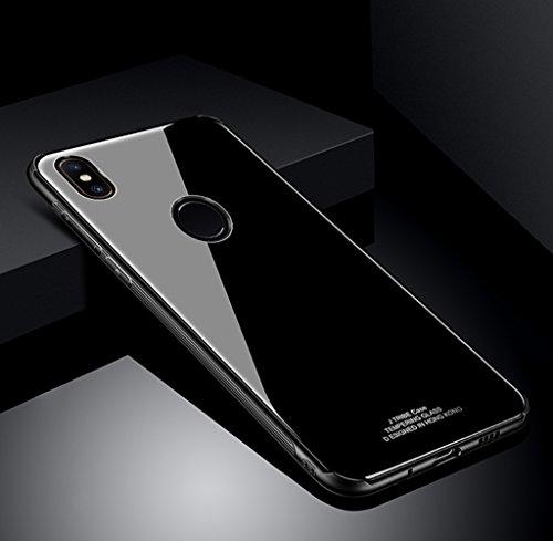 SOCINY Funda Xiaomi Mi Mix 2S, Cubierta Trasera de Vidrio antirrayas + Cubierta Protectora de Parachoques Transparente TPU a Prueba de Golpes-Negro