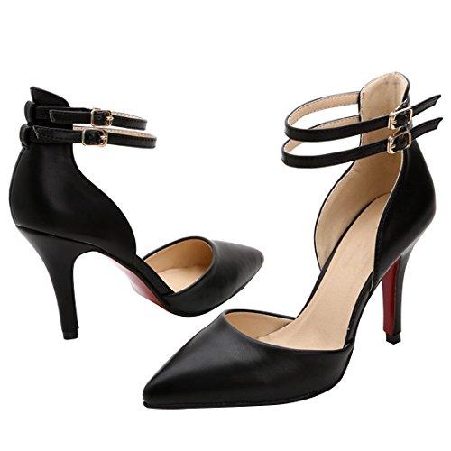 HooH Femmes Cuir D'Orsay Boucle Cheville Sandale Noir