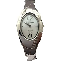 Fontenay Damen Oval Analog Quarz Armreif Uhr mit 4echten Diamanten.