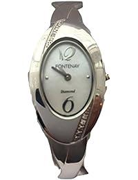 Fontenay Womens ovale analogique Quartz Bangle Watch avec un cadran de nacre et 4 diamants réels !!!!!!