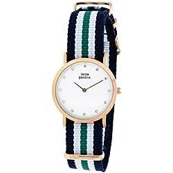 Ladies' THINK POSITIVE® Model SE W96 Watch Medium Flat Rosè Crystal Bracelet Of Cordora Blue, White, Green