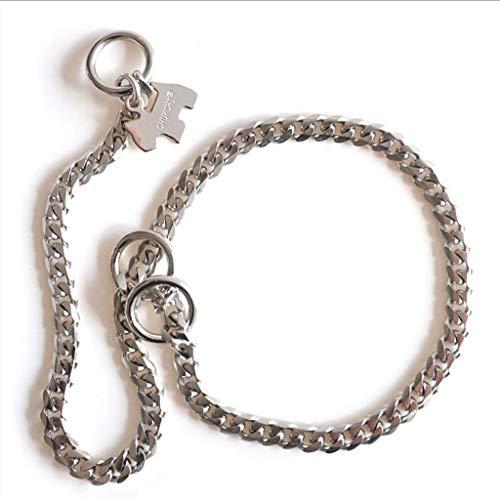 ACZZ Haustierhalsband P-Kette Hundekette Heimtierbedarf Starke Kette Schlange Metallhalsband Hundehalsbänder,Silber,Mittel -